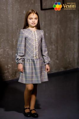 Rochie sură în carouri cu mâneca lungă