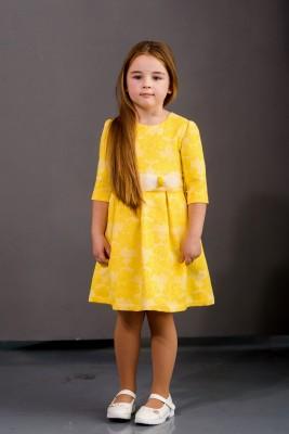 Rochie galbenă jackard cu fundiță