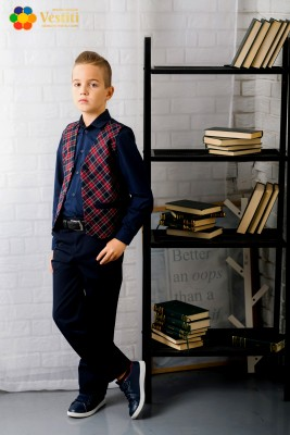 Школьный комплект из трех предметов (синие штаны, темно-синяя рубашка и клетчатый жилет)