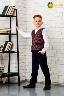 Set pentru școală din trei piese  (pantaloni albaștri, cămașă albă  și vestă în carouri)