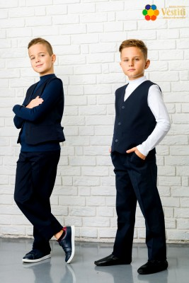 Set pentru școală din trei piese  (pantaloni albaștri închiși, maletă albă și albastră închis, vestă albastră închis)
