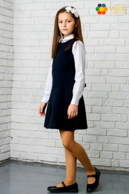 Комплект из двух предметов (темно-синий сарафан, в складках + классическая белая рубашка с длинным рукавом)