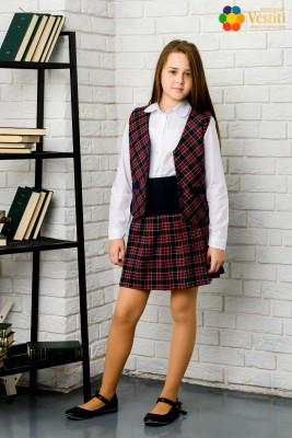 Комплект из трех предметов (юбка с голубым  вставкой и клетчатыми складками + клетчатый жилет + классическая рубашка, белая с длинным рукавом)