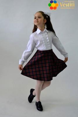 Комплект из двух предметов (юбка-колокольчик, клетчатая + белая Рубашка с жабо, длинный рукав
