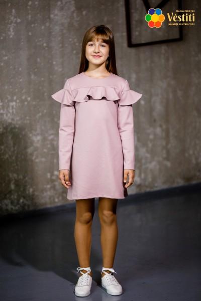 Rochie din tricotaj roz-pudră