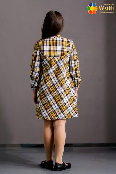Rochie în carouri galbene