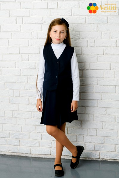 Темно-синяя юбка со складками