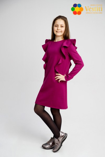 Платье трикотажное, фиолетовое