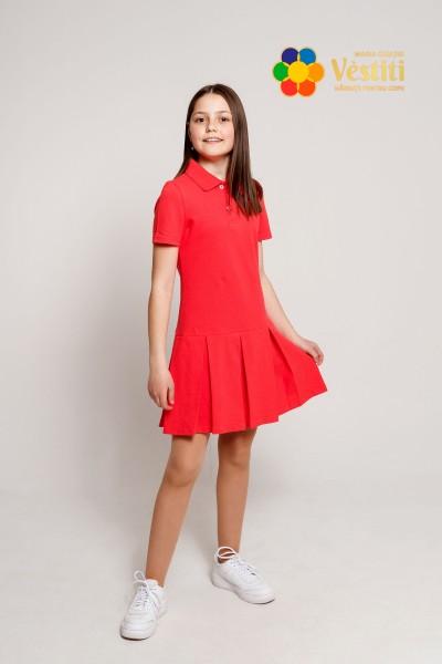 Платье-поло, коралловое