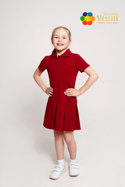 Платье-поло, бордовое