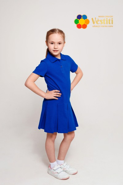 Платье-поло, синий электрик
